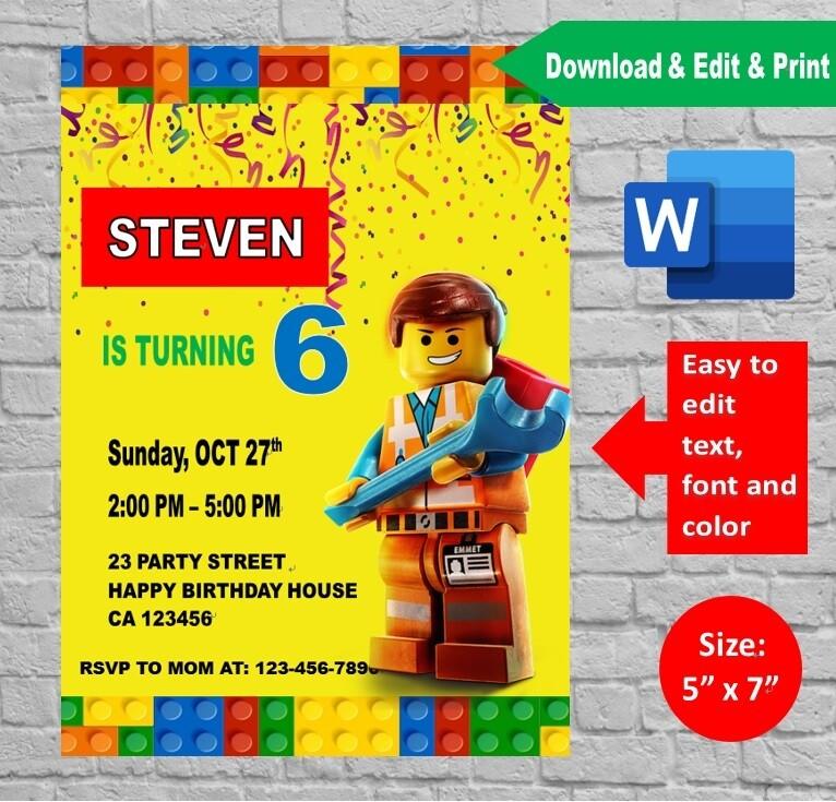 lego movie birthday party invitation printable template