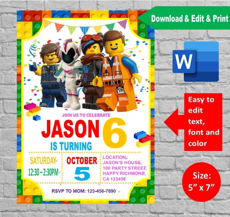 lego movie birthday party invitation template