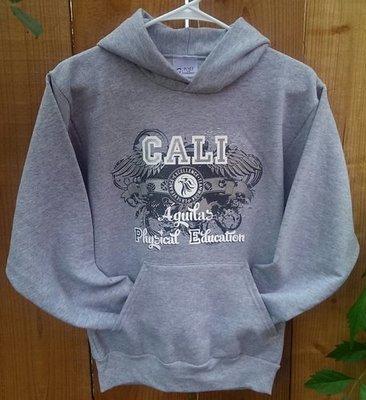 Youth Hooded PE Sweatshirt - Gray / Sudadera para niños - color gris