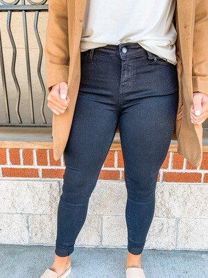 Mid-Rise Black Skinnies