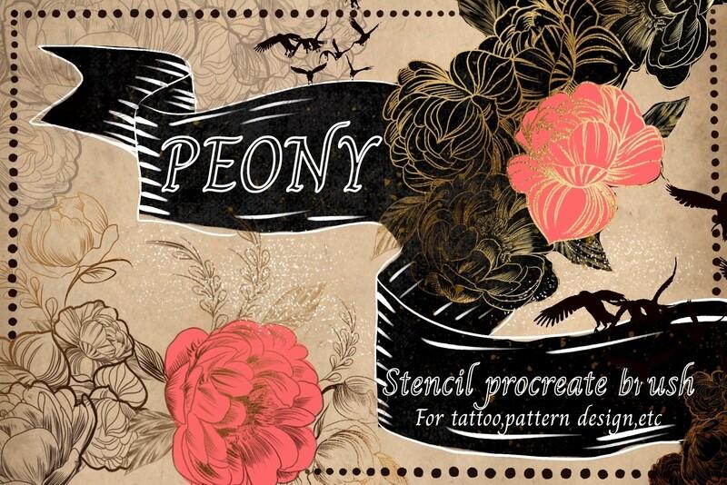 หัวแปรง procreate peony เซท  ดอกพุดตาน เหมาะสำหรับ tattoo