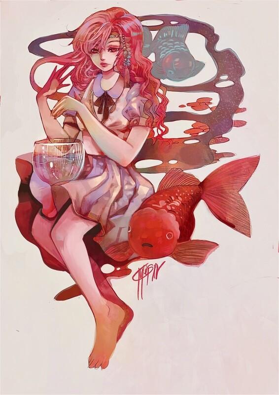 Goldfish โปสการ์ดขนาด a6