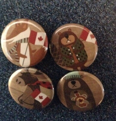 "Set Of 4 Iconic Canadian Animal 1 1/4'"" Pin Back Buttons"