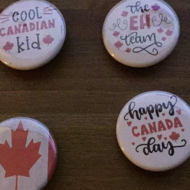 Canadian Kid pin back buttons size 1.25