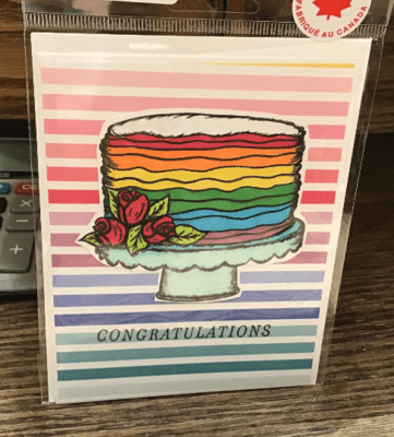 Congratulations Rainbow Cake Card/ / Love/ Special Day/ Wedding/ Pride/ Rainbow Cake/ Commitment Ceremony