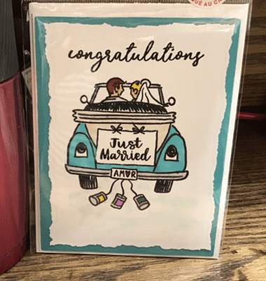 Congratulations - Just Married Greeting Card / Wedding/ fun/ Happy/Vintage