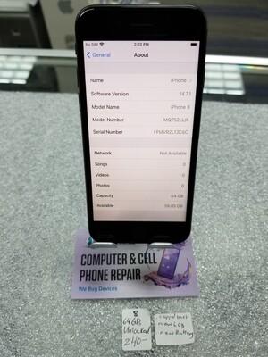 Apple iPhone 8 64GB Storage (Unlocked) -Black