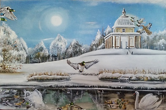 Hardwick Park Castle Temple of Minerva Winter (SOLD)