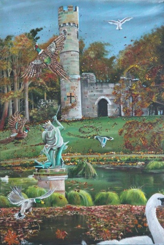 Hardwick Park Castle folly Autumn