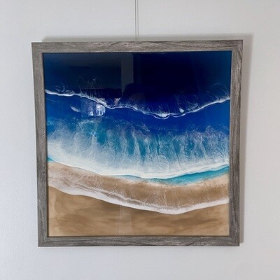 Framed Beach Resin Painting
