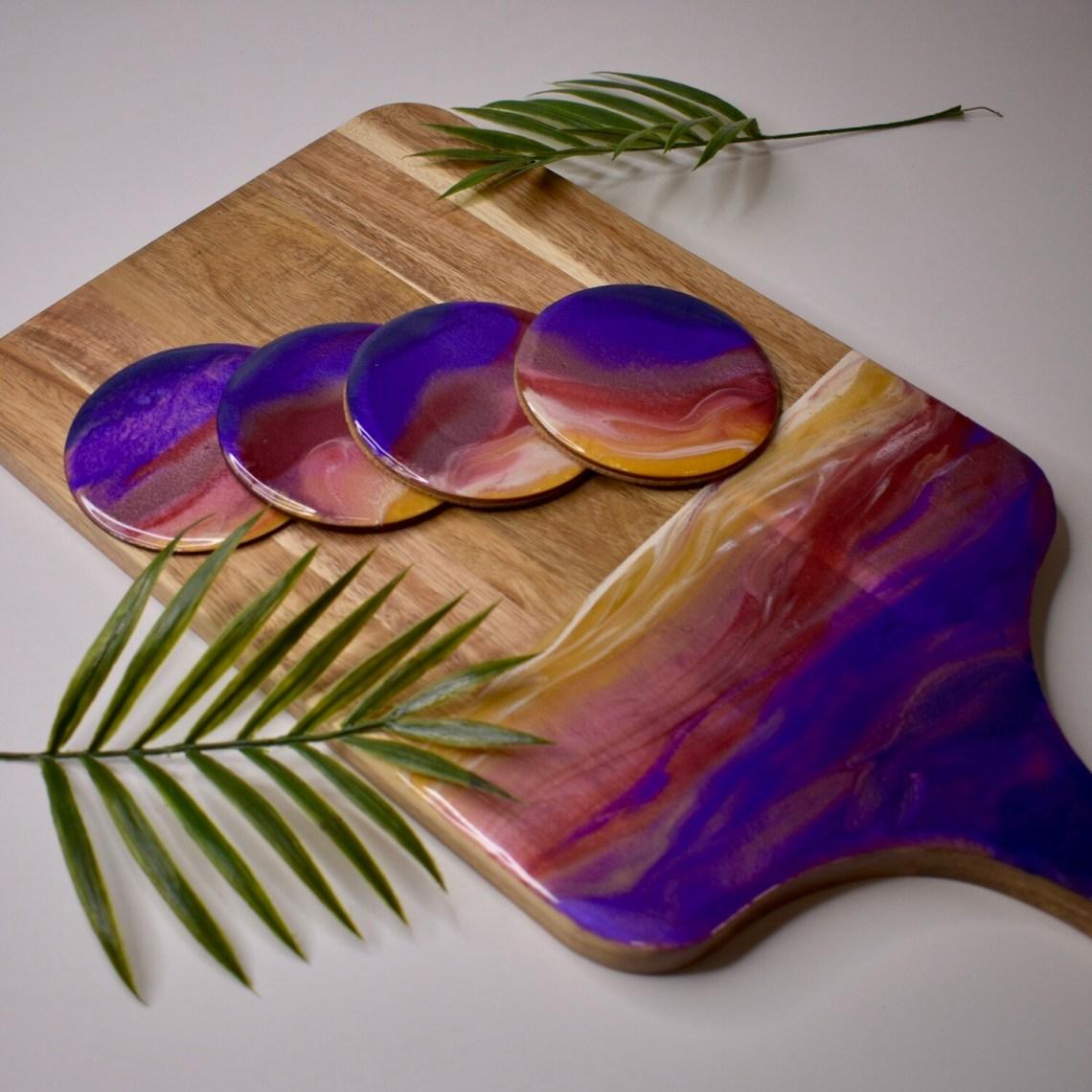 Sunset Resin Cutting Board Set