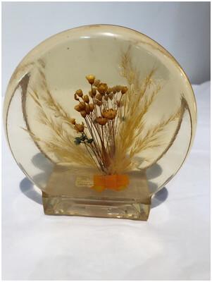 1970's Dried Flowers Resin Napkin Holder
