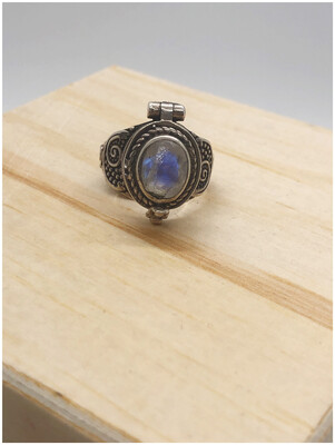 Vintage Moonstone Poison Ring
