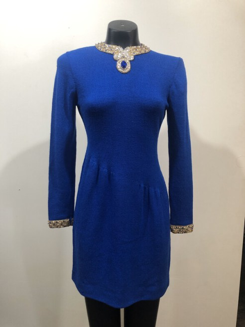 1960's Don Sayres for Wellmore Jeweled Stretch Fabric Evening Dress