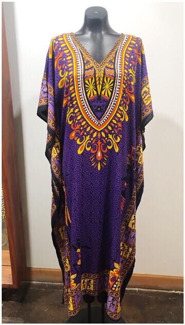 Vintage Flowy African Print Caftan