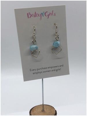 Larimar & Sterling Silver Heart Earrings