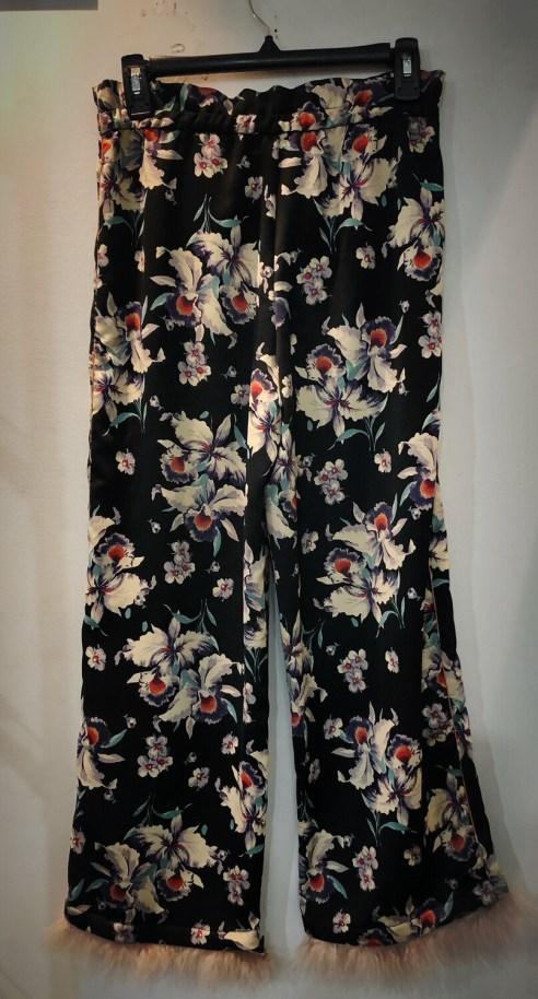 Zara Drawstring Flowered Pants With Fur Trim
