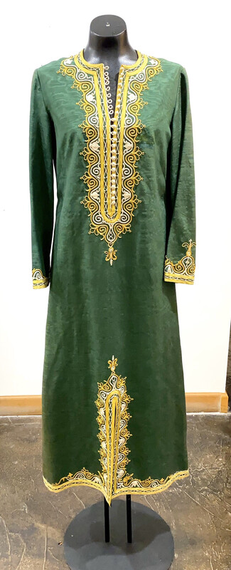Vintage 1960's Egyptian Green Full Length Robe