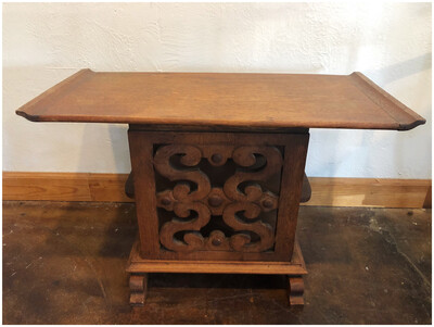 Vintage Oak Side Table With Detailed Carving