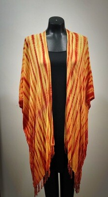 Modern Red Yellow Tie Dye Kimono From Bali