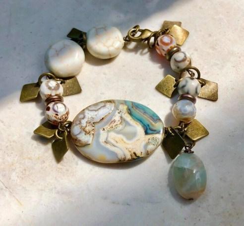 Jasper, White Turquoise, Amazonite With Brass Bracelet
