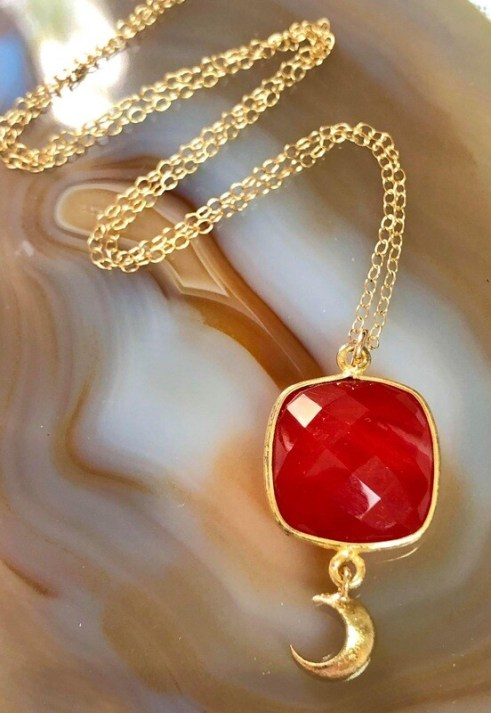 """14kt. Gold Filled Chain With Large Faceted Ruby Gemstone Pendant And Gold Plated Crescent Moon, 18"""""""