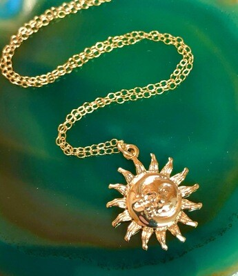 Handmade 14kt Golf Filled Chain With Gold Plated Moon/sun Pendant, 18""
