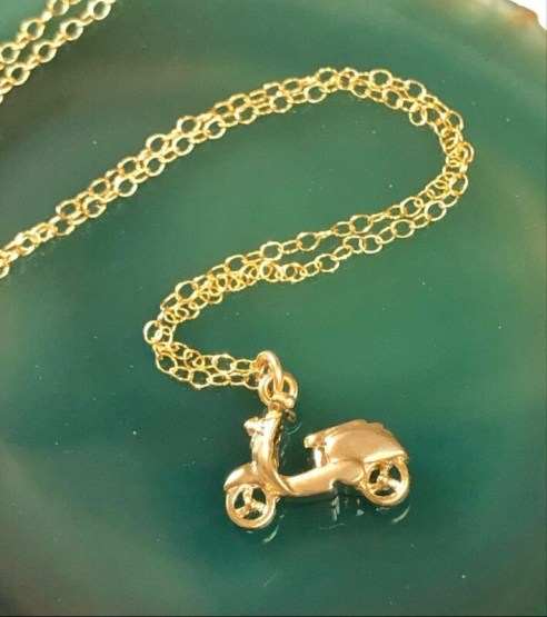 """Handmade 14kt. Gold Filled Chain With Gold Plated Scooter, 18"""""""