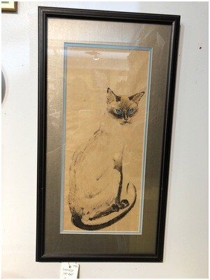 1970's Framed Siamese Cat Wall Art