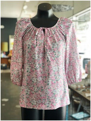 Vintage 1970's Floral Smock Top With Tie