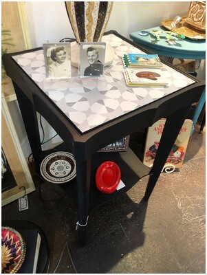 Vintage Black Table with Bottom Shelf & Tiled Top