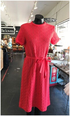 Vintage Light Knit Belted Dress