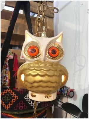 1970's Vintage Owl Hanging Lamp