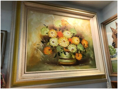Mid Century Framed Floral Original Signed Painting