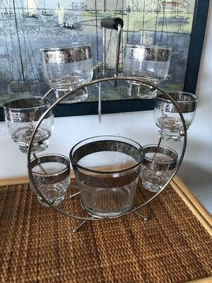 Mid Century Bar Carousel Glasses & Ice Bucket