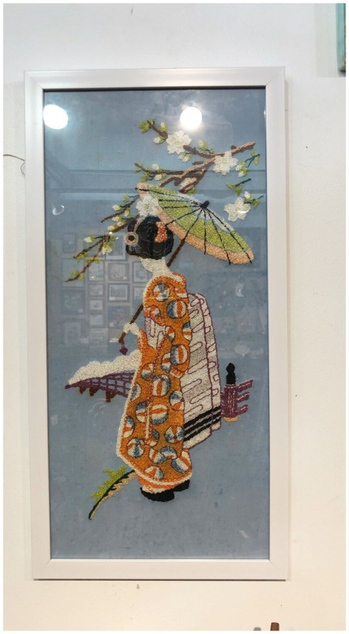 Vintage 1950's Embroidered Asian Art