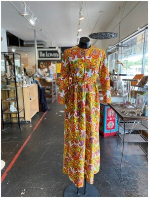 Vintage Bright Paisley Maxi Dress with Zipper Front