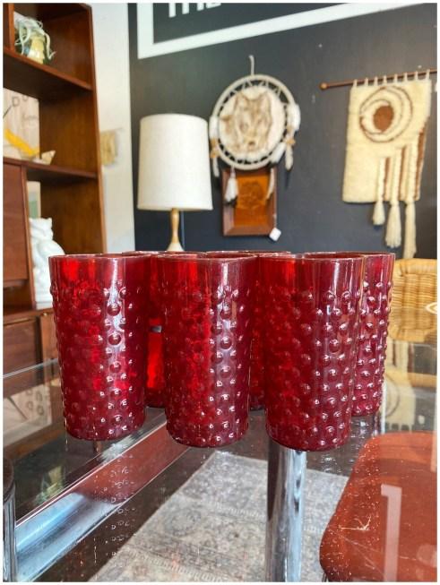 Vintage Hobnail Ruby Red Drinking Glasses