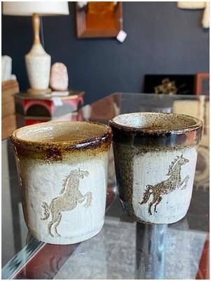 Rare Pamela Kadlec Unicorn Stoneware Glasses