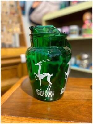 1950's Anchor Hocking Green Glass Antelope Pitcher