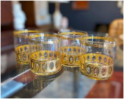 Mid Century Culver 22kt. Gold Lowball Glasses