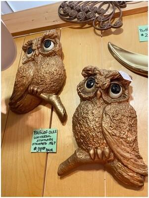 Mid Century 1967 Pair of Owls Wall Art