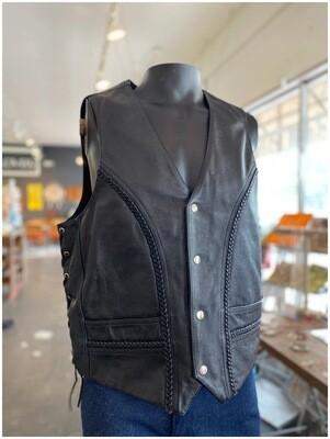 Black Leather Biker Vest