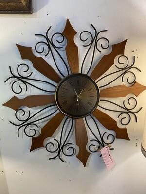 Mid Century Starburst Teak Wall Clock