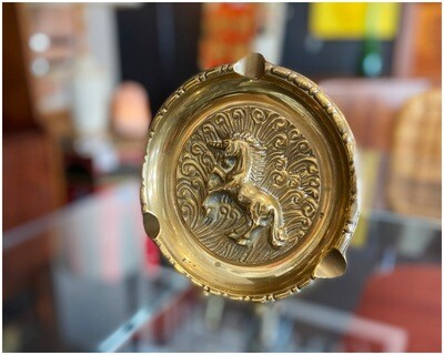 Vintage Brass Unicorn Ashtray