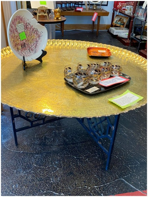 Vintage Wrought Iron Based & Brass Top Table