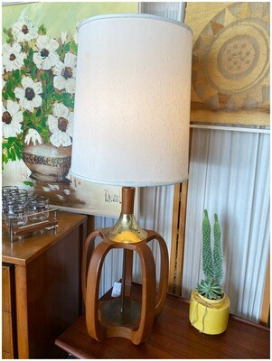Mid Century Teak Lamp with Brass Detail