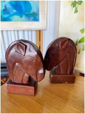 1950's Mahogany Horse Head Bookends