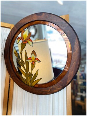 Vintage Floral Stained Glass Round MIrror