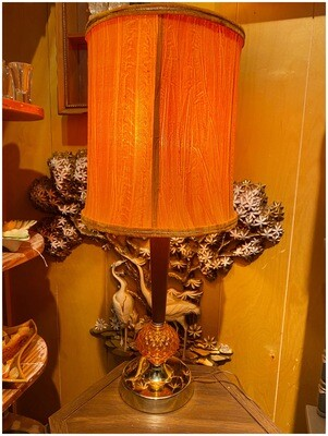 Mid Century Lamp with Amber Glass Base with Velvet Shade